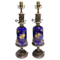 Pair of 19th-20th Century Cobalt Blue and Gilt Glass Oil Lamps with Grape Leaf