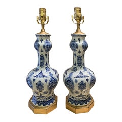 Pair of 19th-20th Century Delft Blue & White Vases as Lamps, Custom Gilded Bases