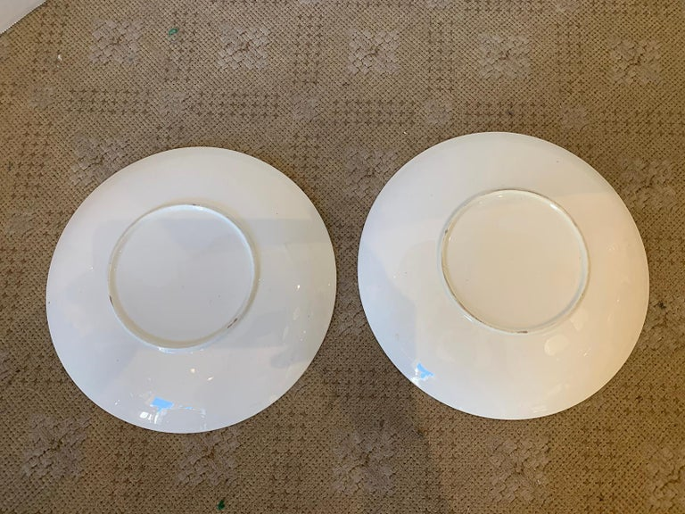 Pair of 19th-20th Century English Porcelain Dinner Plates, Unmarked For Sale 8