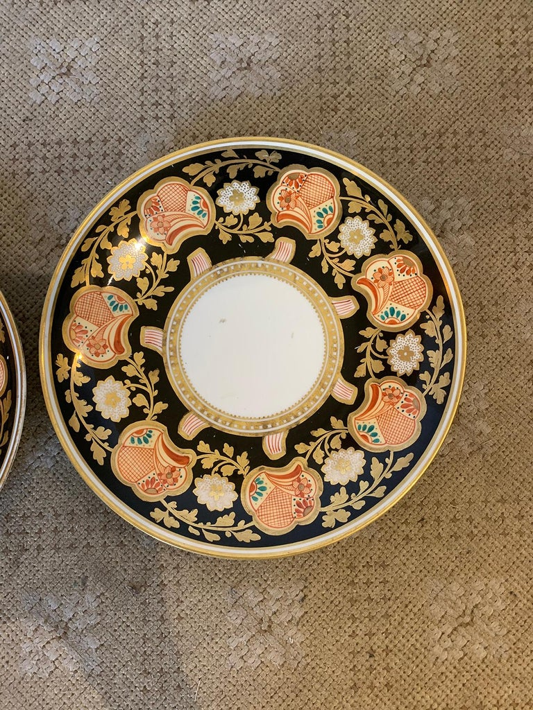 Pair of 19th-20th Century English Porcelain Dinner Plates, Unmarked For Sale 1