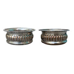 Pair of 19th-20th Century English Sheffield Silver Plate and Wood Wind Coasters