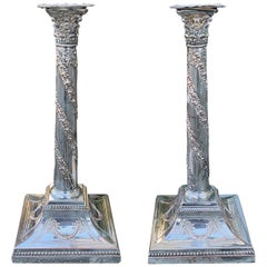 Pair of 19th-20th Century English Silver Candlesticks, Marked England