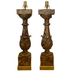 Pair of 19th-20th Century Faux Marble Balustrades as Lamps on Giltwood Bases
