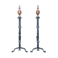 Pair of 19th-20th Century Federal Iron Andirons, Brass Urn Finials, Penny Feet