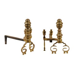 Pair of 19th-20th Century Federal Style Turned Brass Andirons