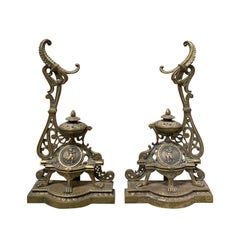 Pair of 19th-20th Century French Bronze Fireplace Chenets with Tool Rest