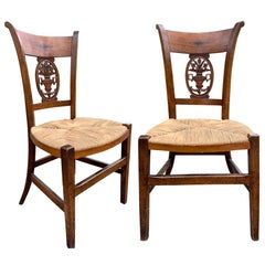 Pair of 19th-20th Century French Country Carved Side Chairs with Rush Seats