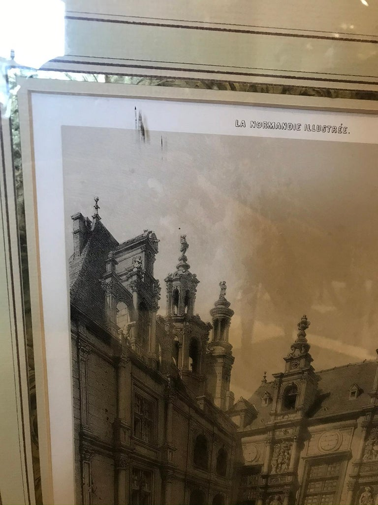 Pair of 19th-20th Century French Engravings of Normandy in Giltwood Frames For Sale 9