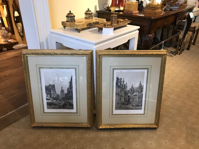 Pair of 19th-20th Century French Engravings of Normandy in Giltwood Frames For Sale 16