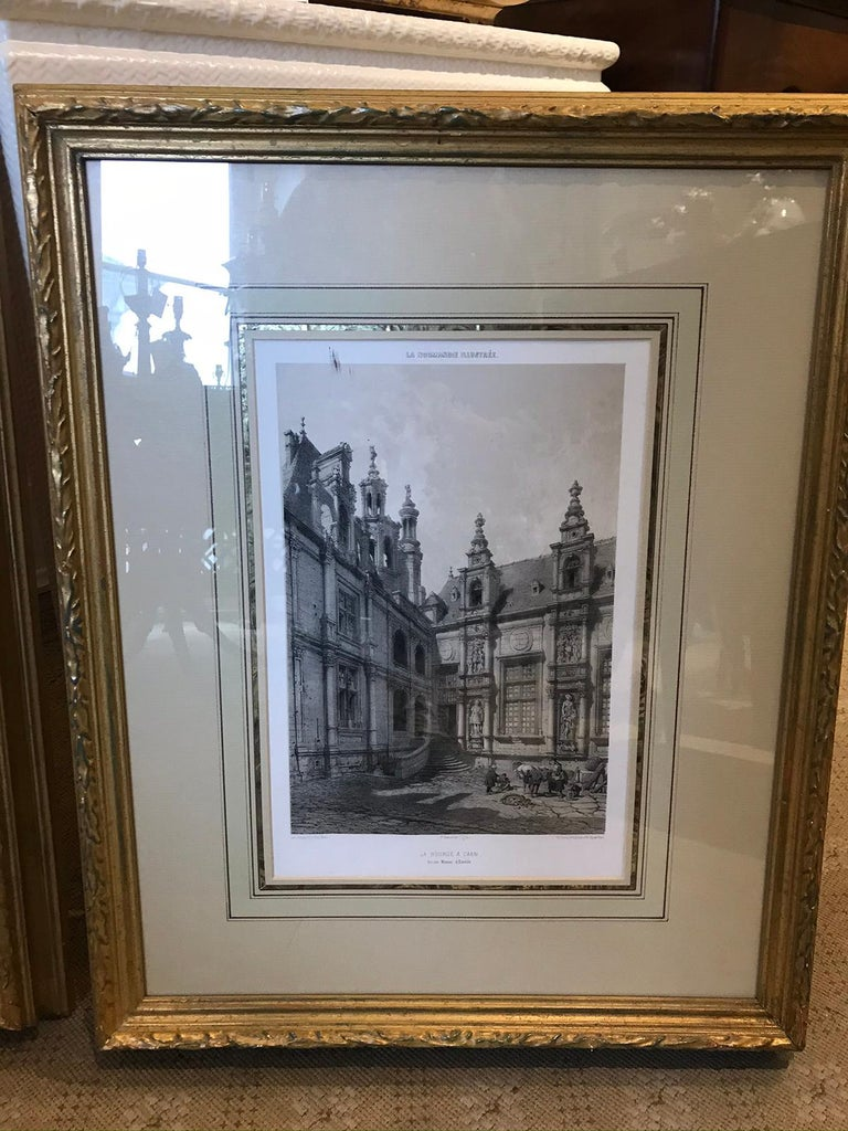 Pair of 19th-20th Century French Engravings of Normandy in Giltwood Frames For Sale 3