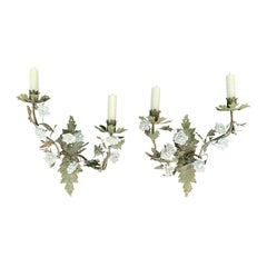 Pair of 19th-20th Century French Louis XV Style Tole Sconces, Ceramic Flowers