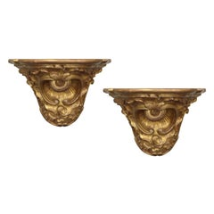 Pair of 19th-20th Century French Regence Style Giltwood Brackets