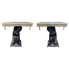 Pair of 19th-20th Century Giltwood & Polychrome Side Tables with Brass Tassels