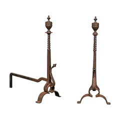 Pair of 19th-20th Century Iron Andirons with Partial Twist Columns & Urn Finials