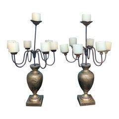 Pair of 19th-20th Century Italian Brass Urns & Iron Seven-Light Candelabra