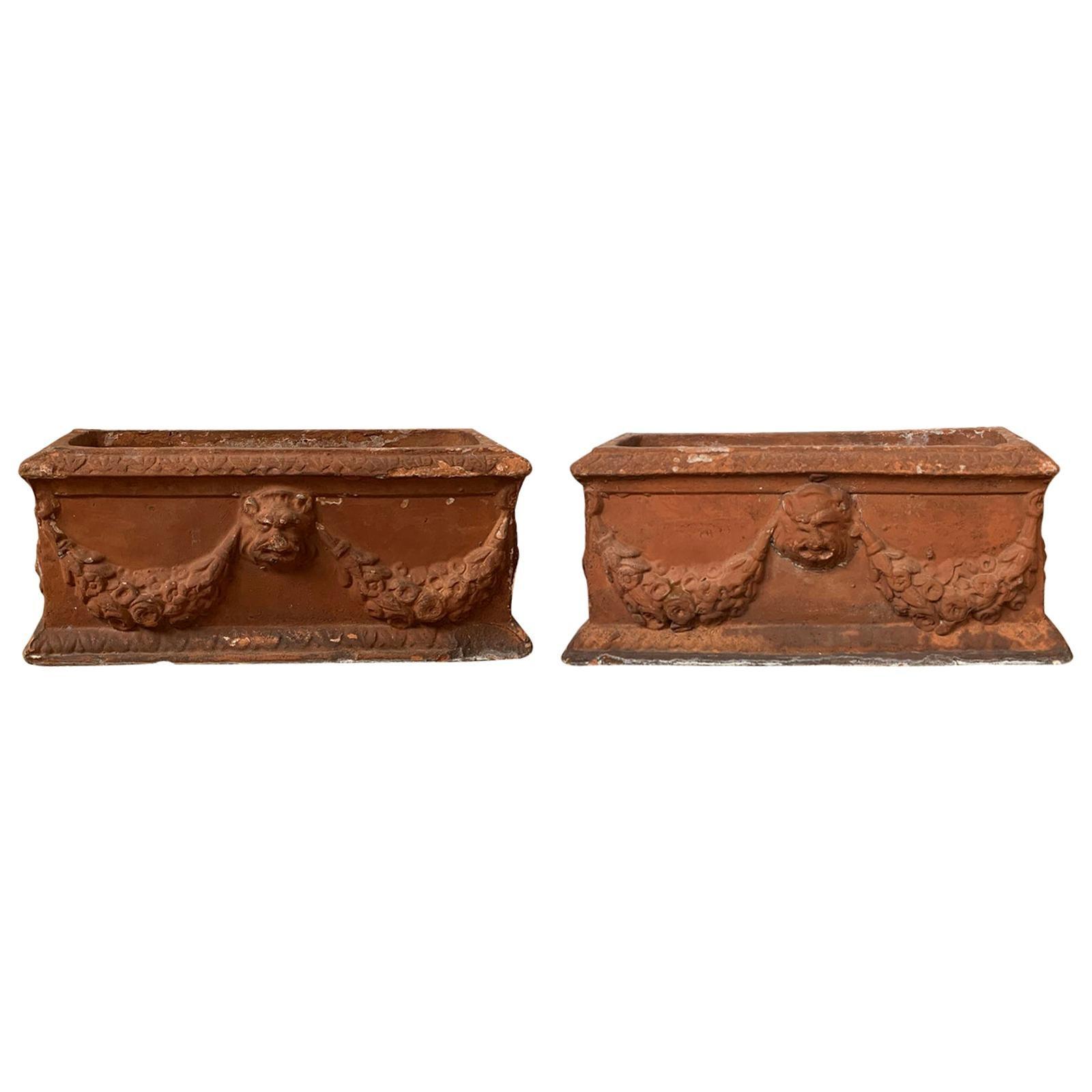 Pair of 19th-20th Century Italian Poss. Impruneta Handmade Terracotta Planters