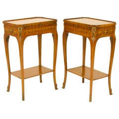 Pair of 19th/20th Century Louis XV Marquetry Side Tables / Lady's Writing Tables
