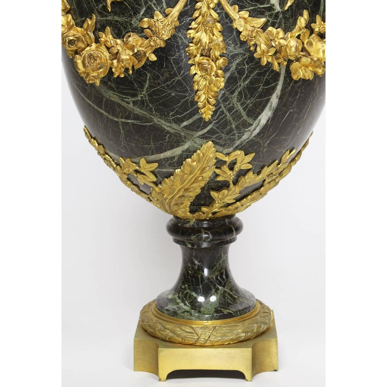 Pair of 19th-20th Century Louis XVI Style Ormolu and Marble Urns with Children For Sale 3