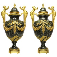 Pair of 19th-20th Century Louis XVI Style Ormolu and Marble Urns with Children
