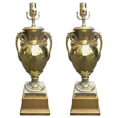 Pair of 19th-20th Century Old Paris Gilt Porcelain Urns as Lamps, Custom Bases