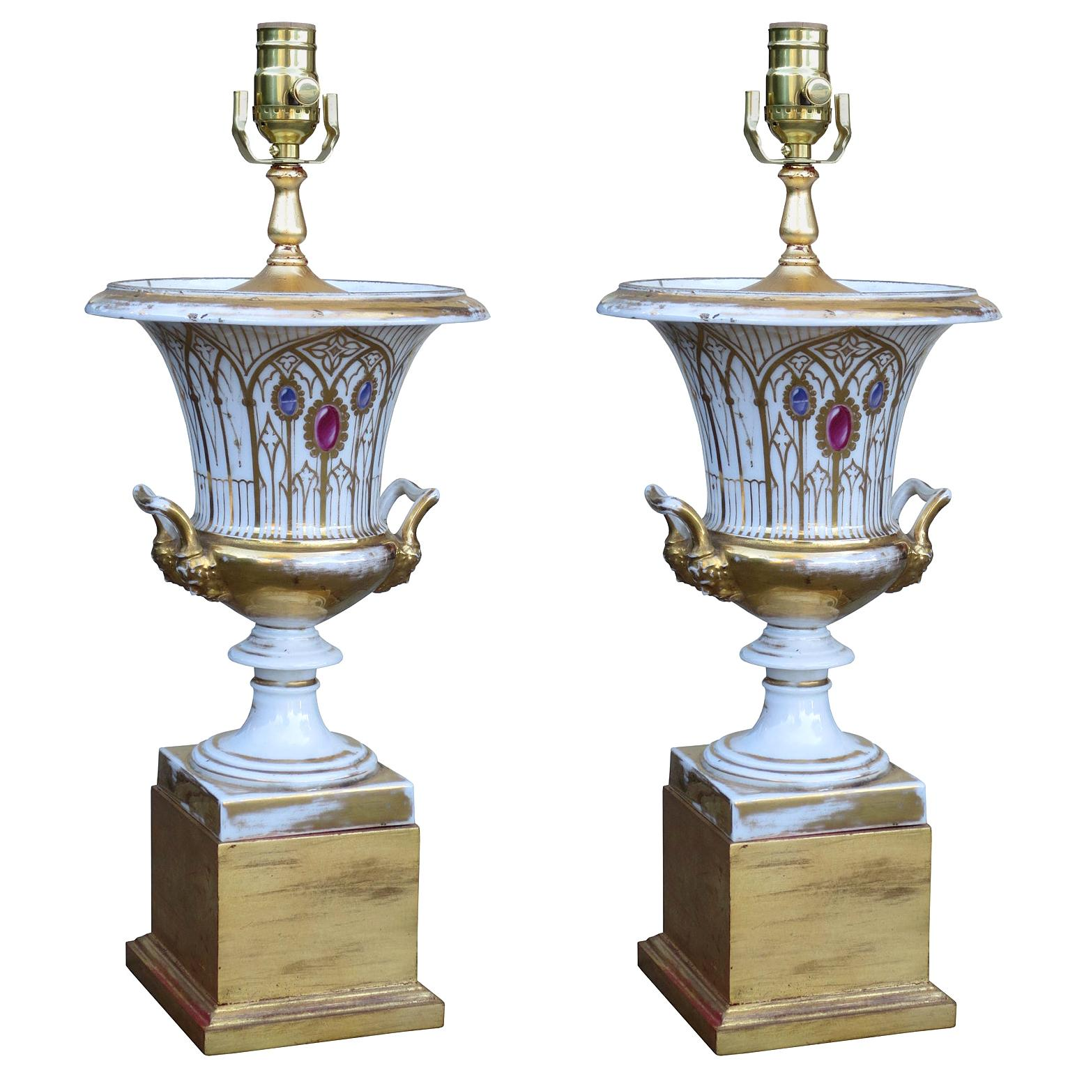 Pair of 19th-20th Century Old Paris Porcelain Urns as Lamps, Custom Gilt Bases