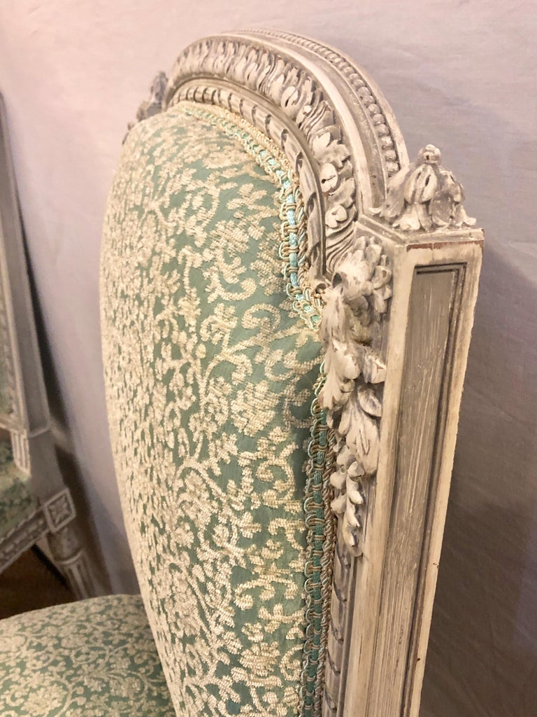 Pair of 19th-20th Century Paint Decorated Louis XVI Style Swedish Side Chairs For Sale 9