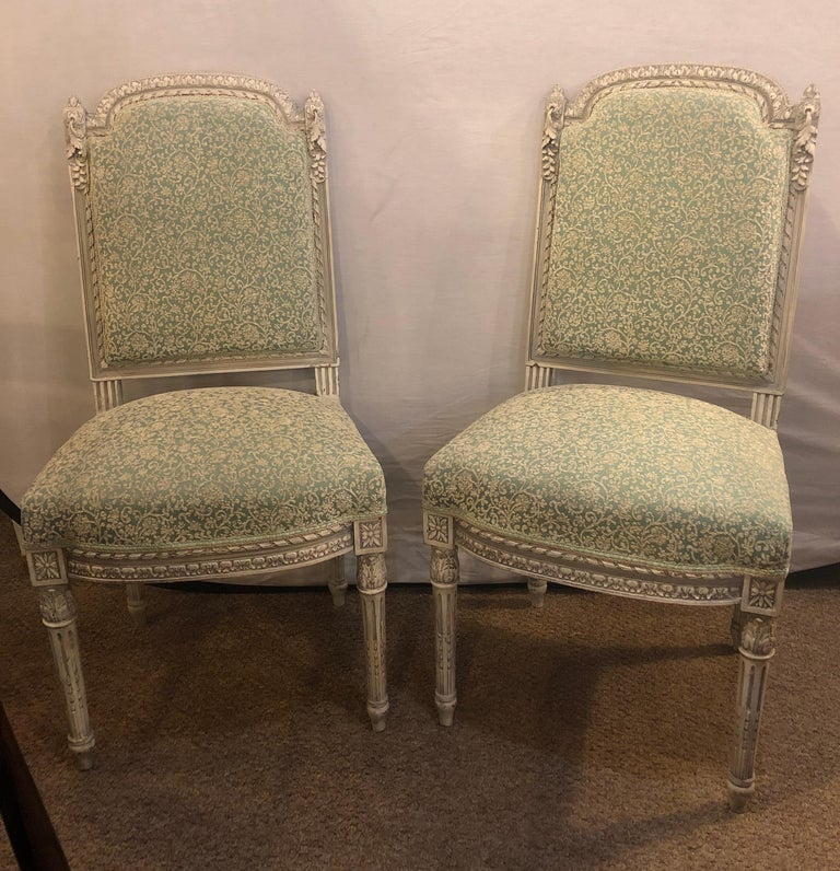 Pair of 19th-20th Century Paint Decorated Louis XVI Style Swedish Side Chairs For Sale 11