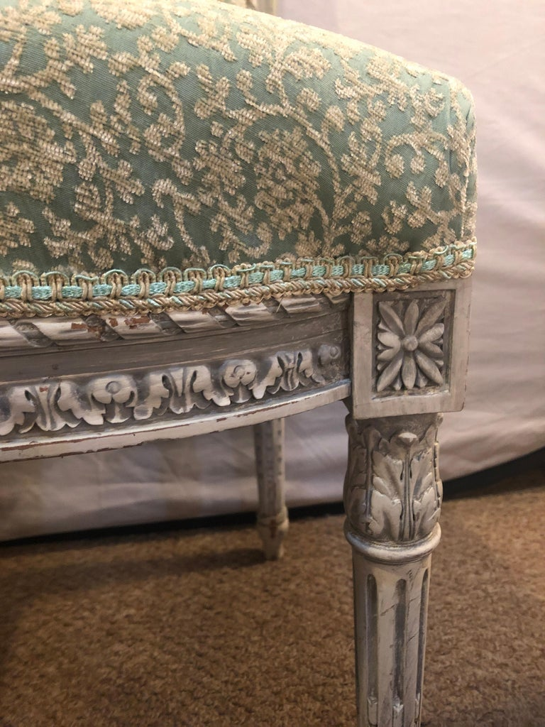French Pair of 19th-20th Century Paint Decorated Louis XVI Style Swedish Side Chairs For Sale