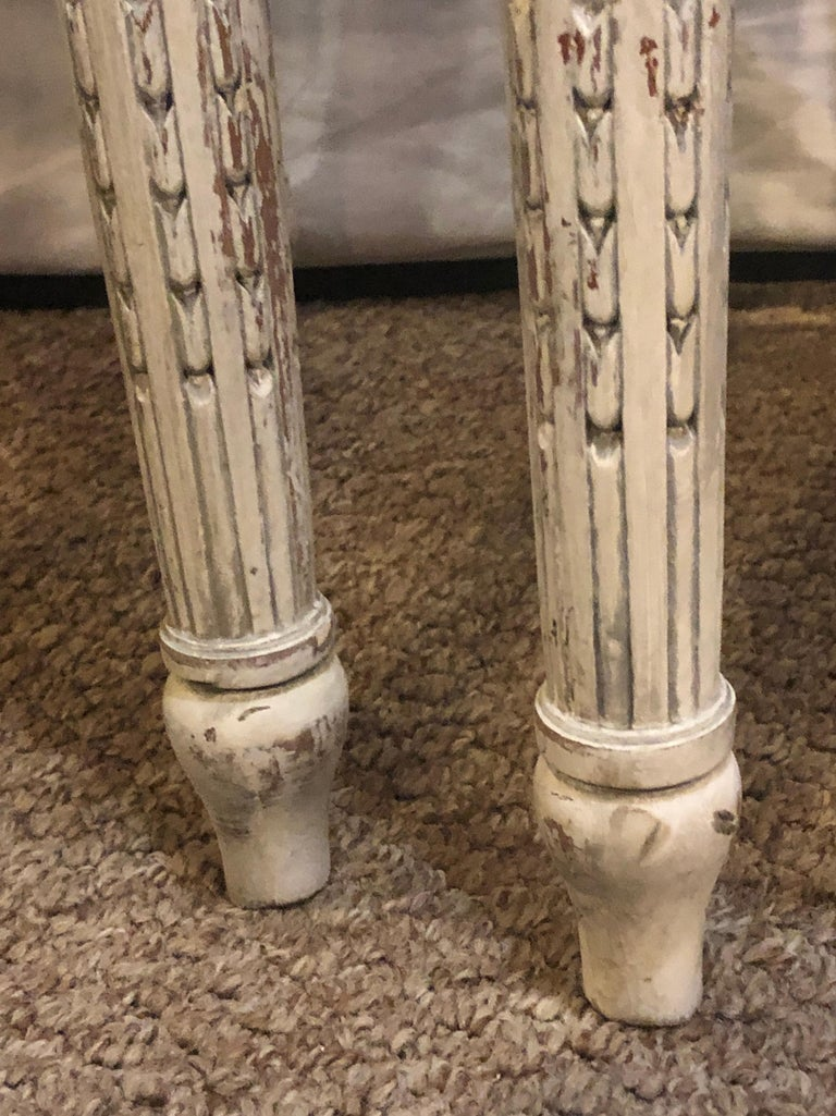 Pair of 19th-20th Century Paint Decorated Louis XVI Style Swedish Side Chairs In Good Condition For Sale In Stamford, CT