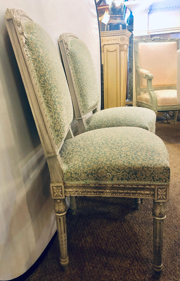 Pair of 19th-20th Century Paint Decorated Louis XVI Style Swedish Side Chairs For Sale 3