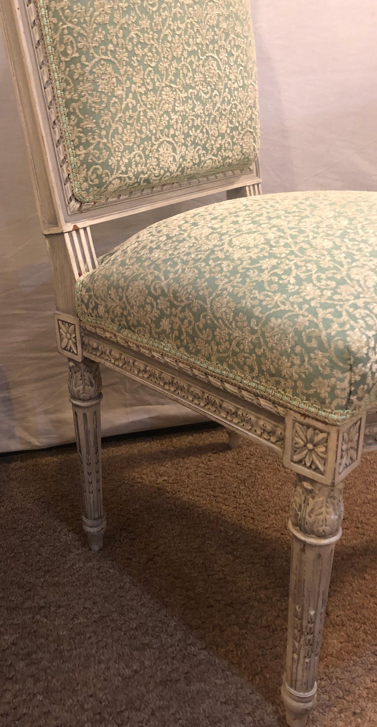 Pair of 19th-20th Century Paint Decorated Louis XVI Style Swedish Side Chairs For Sale 4