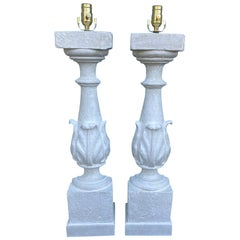Pair of 19th-20th Century Painted Balustrades as Lamps, Custom Finish