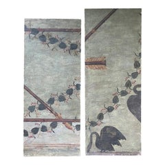 Pair of 19th-20th Century Painted Canvas Fragments