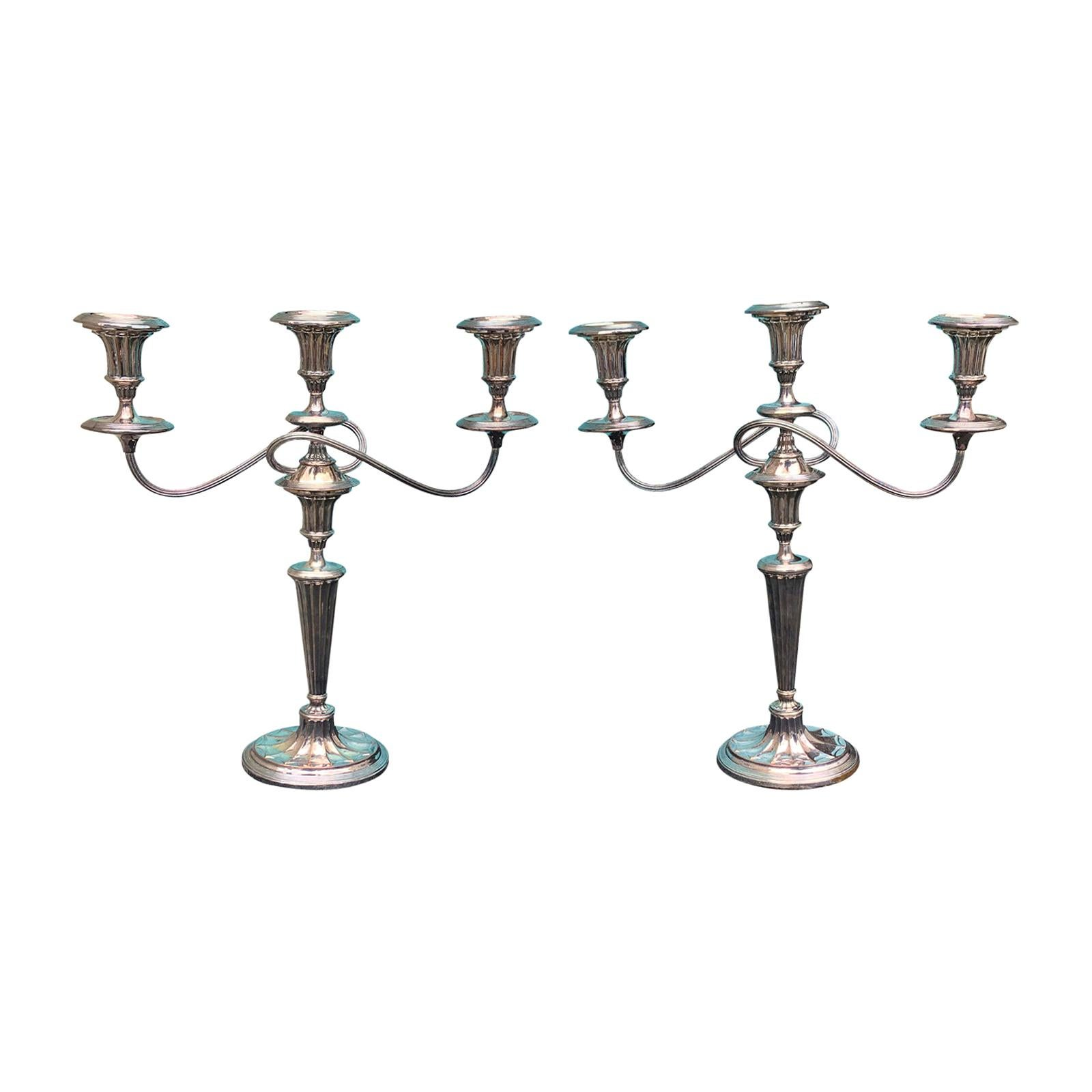 Pair of 19th-20th Century Sheffield Silver Three-Arm Candelabras, Unmarked
