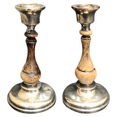 Pair of 19th-20th Century Sterling Silver and Wood Candlesticks, Hallmarked