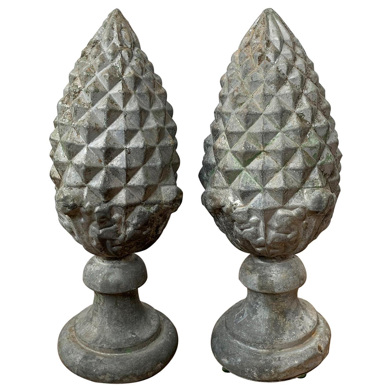 Pair of 19th-20th Century Zinc Pineapple Finials