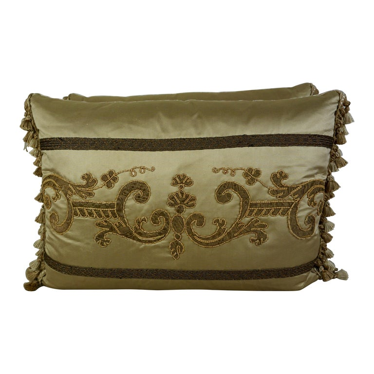 Pair of 19th Century Appliqued Pillows by Melissa Levinson For Sale