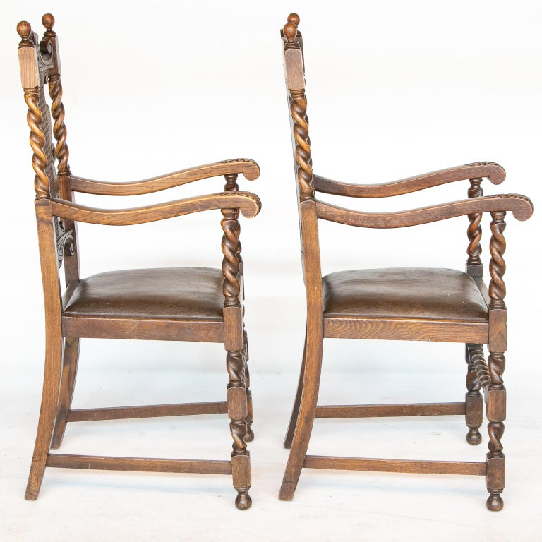 Pair of 19th C. Barley Twist armchairs Pair of 19th C. Barley Twist armchairs with cane back and leather seats. When looking at this pair of armchairs first notice the quality of the turnings but also notice the choice of wood features. The