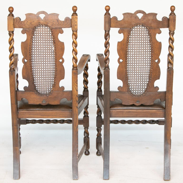 French Provincial Pair of 19th C. Barley Twist Armchairs For Sale