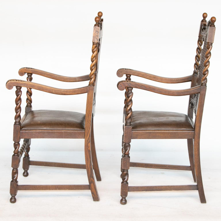 French Pair of 19th C. Barley Twist Armchairs For Sale
