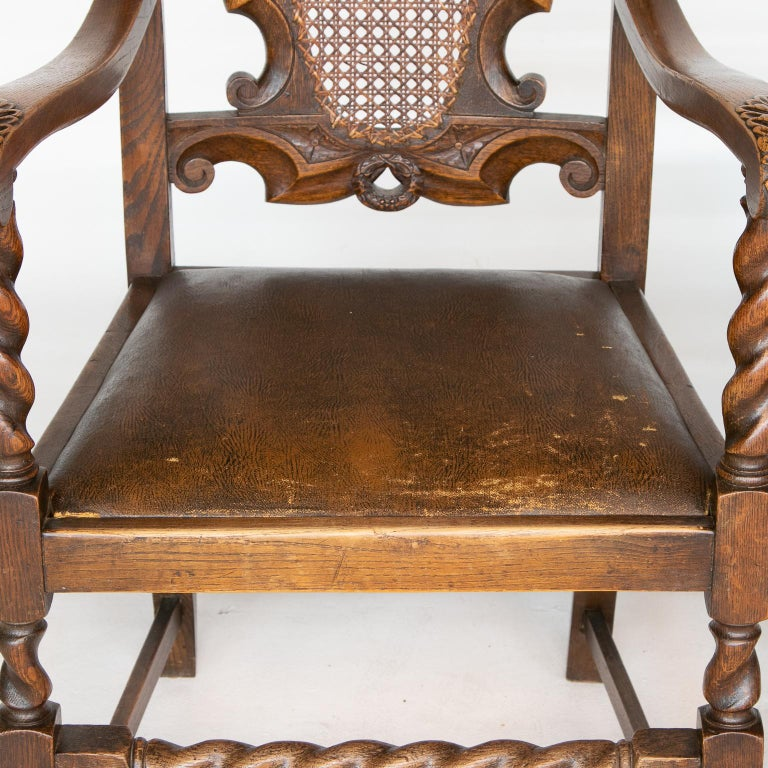 19th Century Pair of 19th C. Barley Twist Armchairs For Sale