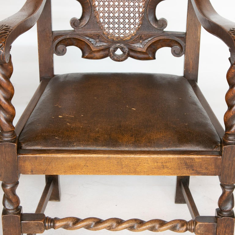 Leather Pair of 19th C. Barley Twist Armchairs For Sale