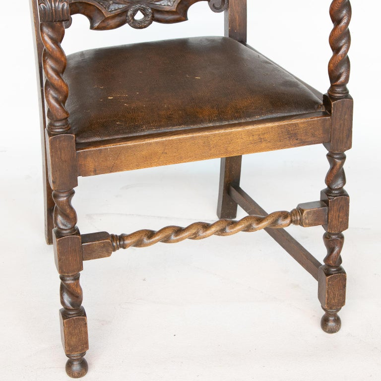 Pair of 19th C. Barley Twist Armchairs For Sale 1