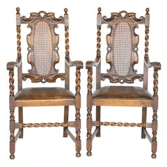 Pair of 19th C. Barley Twist Armchairs