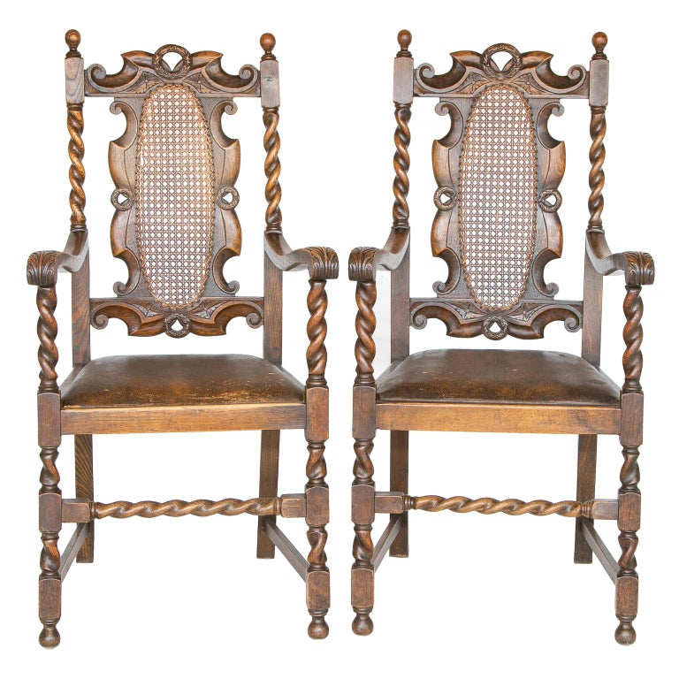 Pair of 19th C. Barley Twist Armchairs For Sale