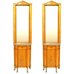 Pair of 19th c. Biedermeier Marble Top Mirrored Commodes
