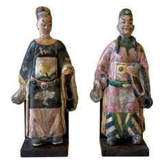 Pair of Late 19th/Early 20th Century Chinese Glazed Clay Court Figures