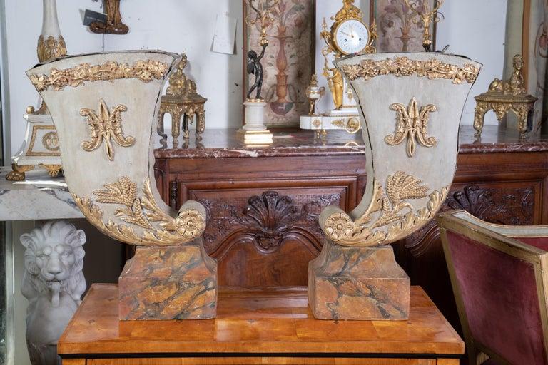 Tôle Pair of 19th Century Decorative Tole Planters For Sale