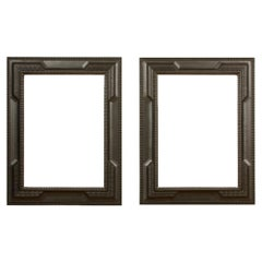 Pair of 19th C Dutch Style Ebonized Frames/ Mirrors with Blackened Carved Wood