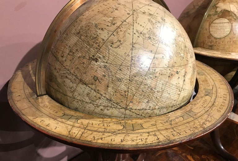 Pair of 19th Century English J & W Cary Celestial/Terrestrial Table Model Globes In Good Condition For Sale In Milford, NH